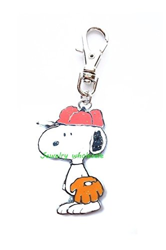 SNOOPY LOVES BASEBALL PEANUTS CHARACTER JEWELRY CHARM FOR YOUR PETS COLLAR DOG CAT LEASH ZIPPER PULL PURSE DIY PROJECTS ETC