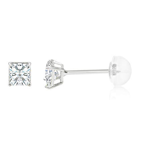 (Ioka - 14K White Gold Square Solitaire Princess Cut Cubic Zirconia CZ Stud Push Back Earrings - 0.25ct (3mm))