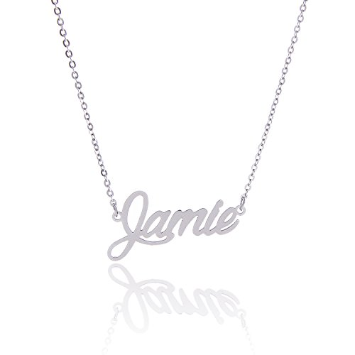(AOLO Stainless Steel Personal Monogram Name Necklace Jamie)