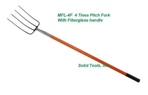 4 Tines Forged Pitch Fork with Long Fiberglass Handle
