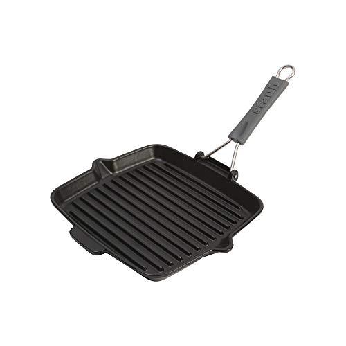 (Staub Cast Iron 9.5-inch Square Folding Grill - Matte Black)