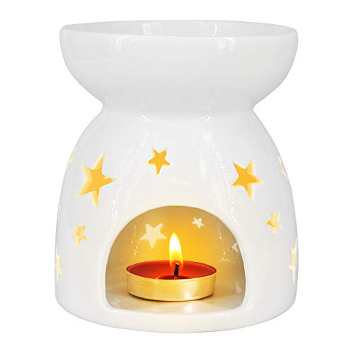 - Ivenf Ceramic Essential Oil Incense Tart Tealight Candle Burner Diffuser, Holiday Home Decoration Valentine, Cutout Stars