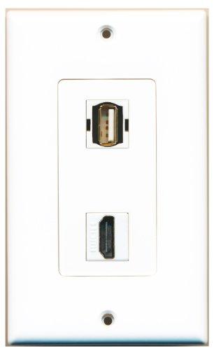 RiteAV - 1 USB A/A and 1 HDMI Port Wall Plate White