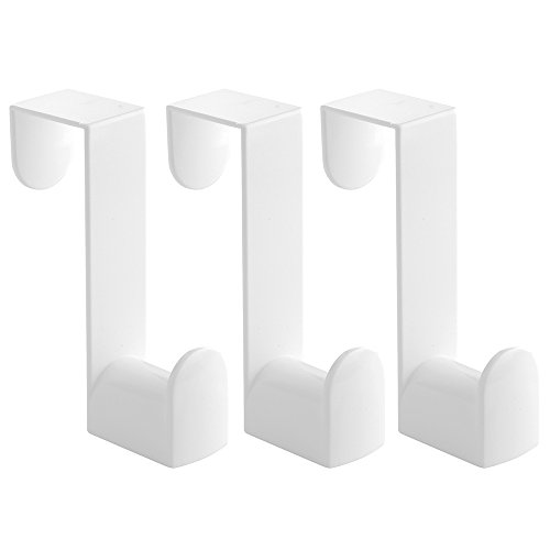 InterDesign Over the Door, Hooks and Valet for Coats, Hats, Robes, Towels - Set of 3, White