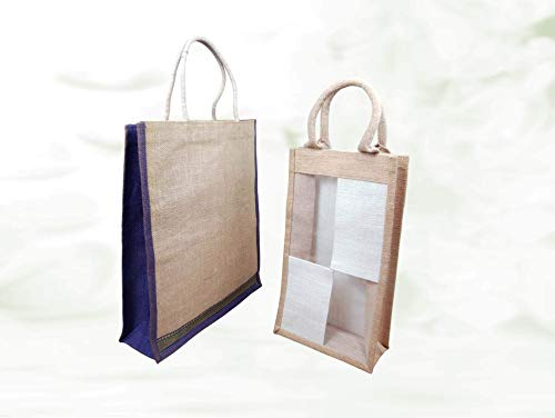 Krishna Handmade INDIAN Traditional JUTE TOTE BAG - 1+1 = 2 Nos/Soft Cotton Handwoven Handle Grocery Bags/Small (14