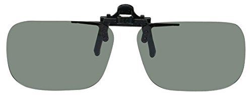 Polarized Black Metal Clip On Flip Up Grey / Gray Sunglass Lenses, Rectangle, 52mm Wide X 35mm High, 117mm Wide with - Bridge High Sunglasses