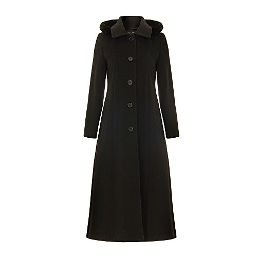 De La Creme Single Breasted Detachable Fur Hood Wool Winter Trench Winter Coat, Black, Size 20