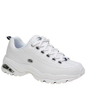 Skechers Premium Smooth Leather Walking Sneaker Shoe - White Smooth/Navy Trim - Womens - 7.5 C/D