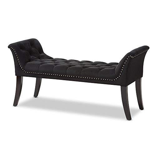 Baxton Studio Velvet Upholstered Bench in Black