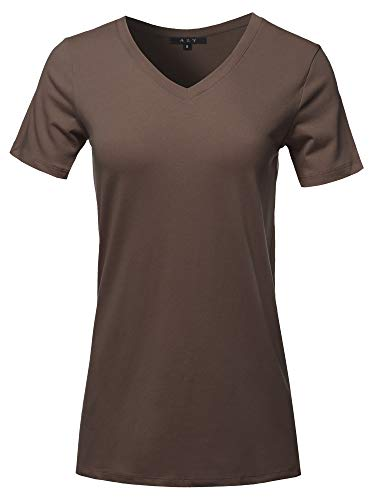 (Basic Solid Premium Cotton Short Sleeve V-Neck T Shirt Tee Tops Americano 2XL)