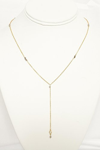Studded Bezel - Yellow-Plated Lariat Studded with Black Quartz Beads and Cubic Zircon, Adjustable