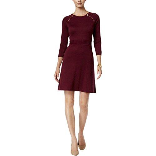 Raglan Flare Dress (Nine West Women's Raglan Slv Fit&Flare Dress with Zipper Detail, Wine, L)
