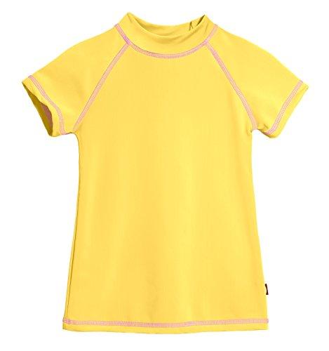 - City Threads SS Little Girls' Rashguard Swimming Suit Swim Tshirt Tee UPF50+ Sun Protection for Beach Pool Summer Fun, SS Yellow/White, 5