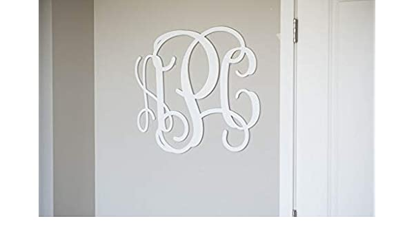 Amazon Com Wedding Cake Topper Painted Wooden Monogram Wood Initials Vine Script Initials Room Wall Nursery And Wedding Door Hanger Wall Hanging 2304 Handmade