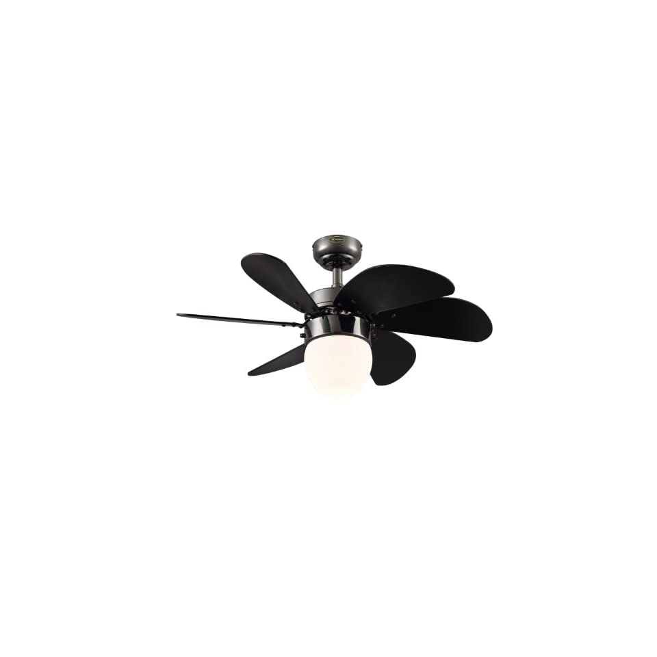 Westinghouse Lighting 7226100 Turbo Swirl CFL Single Light 30 Inch Six Blade Indoor Ceiling Fan, Gun Metal with Opal Frosted Glass