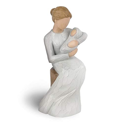 Bingo Castle New mom Gifts, Hand Painted Figurine with Imitation Wood Carving Texture, Home Statues Gifts for New mom, Cradle of Love (Mother And Baby Figurines)