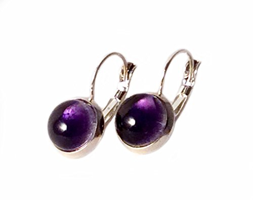 Handmade Fused Glass Earrings | 925 Sterling Silver | Purple | Transparent Color | Made in Costa Rica | by Gerty