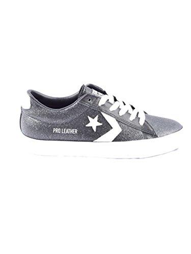 Converse Chaussures Femme Pro Leather en Tissu Noir et Blanc 561010C Nero