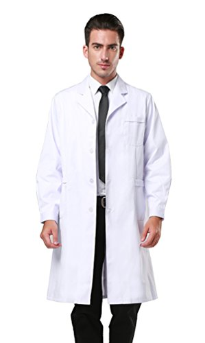 Men's White Lab Coats Doctor Workwear - Unisex Lab Coat Scrubs Adult Uniform Long Sleeves S ()