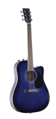 Johnson JG-650-TBL Thinbody Acoustic Guitar with Pickup, Blueburst