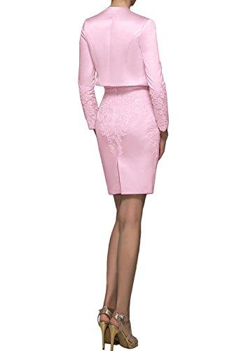 mia Bolero Pink Festlichkleider mit Kurzes Etuikleider Abendkleider Dunkel Damen Braut Promkleider Mini Ballkleider Rosa La R64dOqd