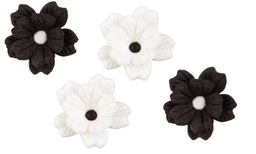 Royal Icing Decorations-Black And White Flower 12/Pkg