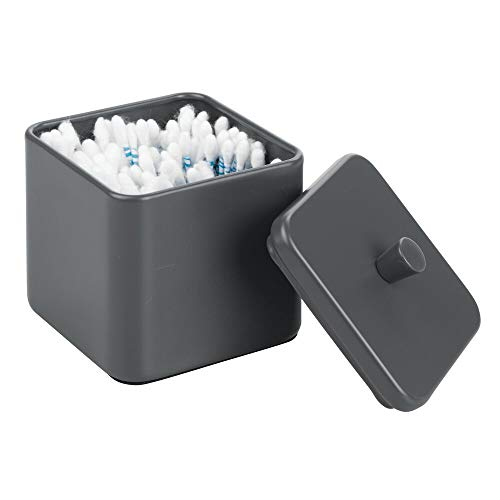 mDesign Metal Bathroom Vanity Countertop Storage Organizer Canister Apothecary Jar for Cotton Swabs, Rounds, Balls, Makeup Sponges, Blenders, Bath Salts - Square - Matte Slate Gray