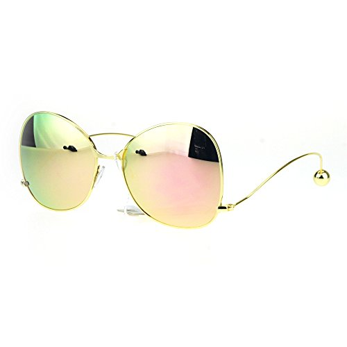 Womens Swan Drop Temple Ball Tip Wire Arm Metal Rim Butterfly Sunglasses Gold - Sunglasses Swans