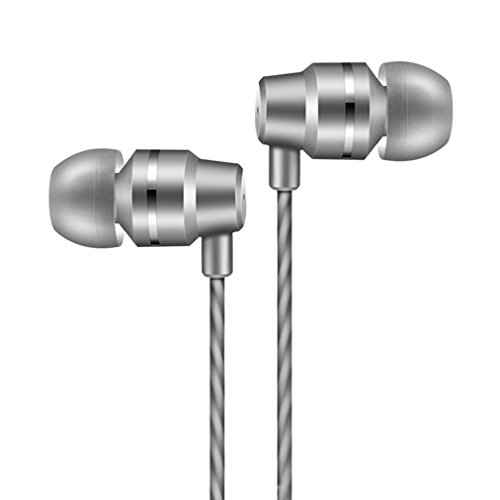 JICS Earphones In Ear Headphones Sweatproof Metal Wired Earbuds Bass Headsets Noise Cancelling with Microphone & Button Control & Volume Control For Running GYM workout iPhone iPad iPod Android (Gray)