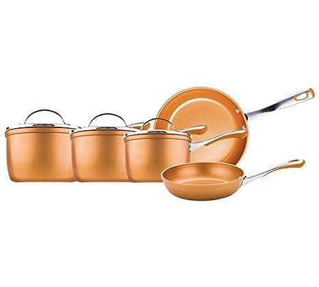 Prestige Prism - Juego de sartenes de aluminio (5 piezas), color cobre: Amazon.es: Hogar