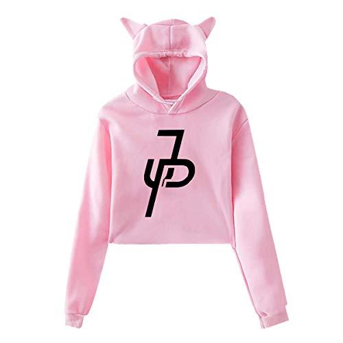 Women's Cat Ear Hoodie Sweater Jake Paul Merch Hoody Pink M