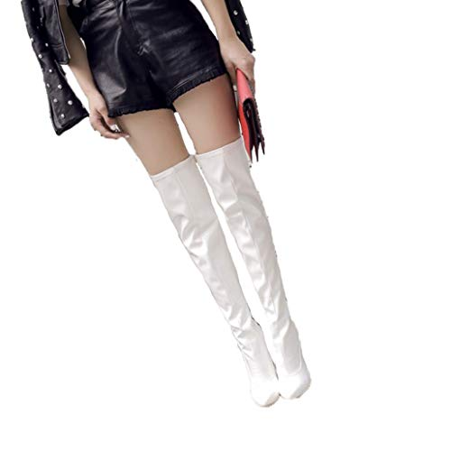 ODOKAY Women's Long Boots Thigh High Stiletto Boots Sexy Over The Knee Boots Patent Leather Fashion Shose