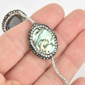 2 Abalone Shell Oval Beads, Micro Pave Crystals 25mm gem0345 Crafting Key Chain Bracelet Necklace Jewelry Accessories Pendants ()