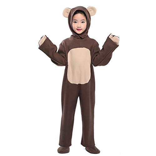 (Little Bear Costume Toddler Kid Brown Bear Mascot Cosplay Animal Pajamas Halloween Fancy Dress (Bear,)
