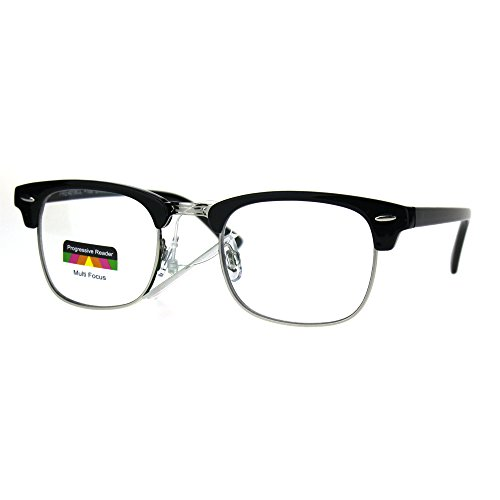 Half Horn Rim Hipster Multi 3 Focus Progressive Reading Glasses Black Silver - Horn Rim Reading Glasses