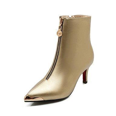 Botas de la mujer confort PU primavera otoño boda vestido de noche &Caminar Botas de moda Zipper Stiletto talón Rojo Negro Oro Plata2A-2 Gold