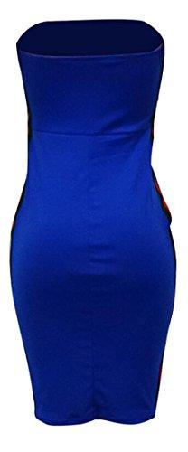 Blu Bretelle Senza Contrasto Bodycon Domple A Colore Bottoni Clubwear Mini Abito Womens Di 07wYCKq