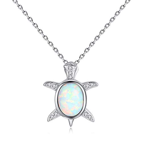 (VIKI LYNN Baby Sea Turtle Necklace Sterling Silver Created Opal Jewelry for Women)