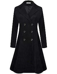 Women's Winter Dress Coats Wool Blend Double Breasted Long Peacoat