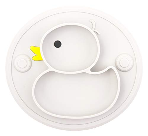 Lightening Corp Baby Plate Silicone Toddler Plates Suction Placemat Divided Dishes for Kids and Infants One-Piece Strong Suction, BPA Free, Microwave Dishwasher Safe (Grey)
