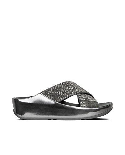 Pewter De Color Fitflop Mujer Sandalias Crystall Slide En Metallic Negro vwSxSzCaq