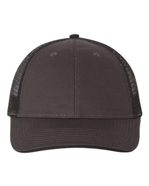 Valucap Twill - Valucap Sandwich Trucker Cap, Charcoal/Black, One Size