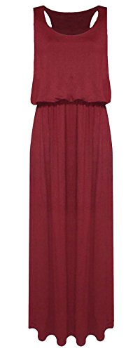 Womens Wine Ball Long Back Fancy Dress Sleeveless Maxi Toga Racer Maxi Ladies Puff Jersey Baloon 21FASHION fTq4dxgwd