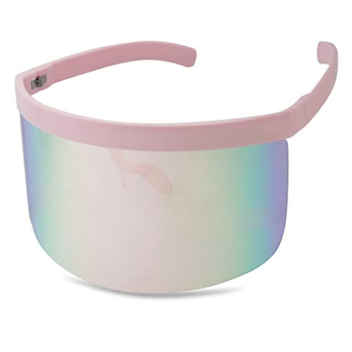 Extra Large Mask Cover Shield Visor Style Sunglasses W/Flash Mirrored Mono Lens (Matte Black, Copper Mirror)