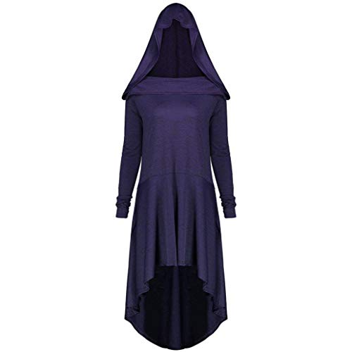 Faionny Women Halloween Witch Dress Plus Size Jumpdress Lace Up Hooded Blouse Solid Long Sleeve Tops Purple -