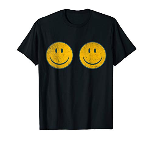 Vintage SMILEY FACE BOOBS | 70's Vibe Shirt | Yellow Smiley - Smiley T-shirt Yellow