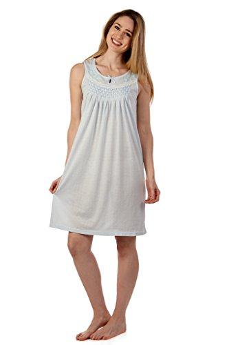 Womens-Sleepwear-Pajama-Cotton-Blend-Casual-Night-Dress-Smok-Sleeveless-Nightgown-By-Caldore
