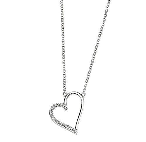 Pendentif cœur ouvert avec or blanc 9carats serti de diamants