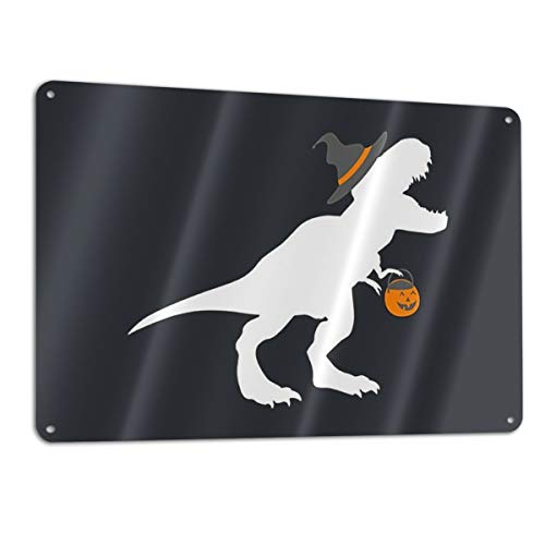 KZANSUI Personalized Paint T-Rex Witch Halloween Funny Dinosaur 11.8 X 7.9 in Metal Tin Sign Novelty Iron Tag Plaque Wall Art Poster for Bar Decoration -