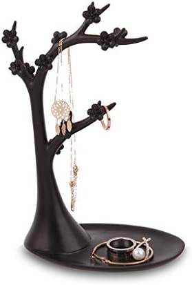 GWM ジュエリーディスプレイスタンド、クリエイティブツリーフォームハンギングイヤリングネックレスリングジュエリーホルダー、ウィンドウジュエリー収納装飾 (Color : Black)